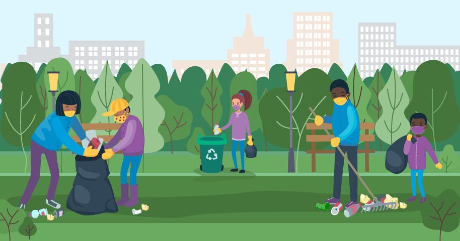 hình minh họa về việc mọi người đeo khẩu trang khi dọn vệ sinh ở công viên