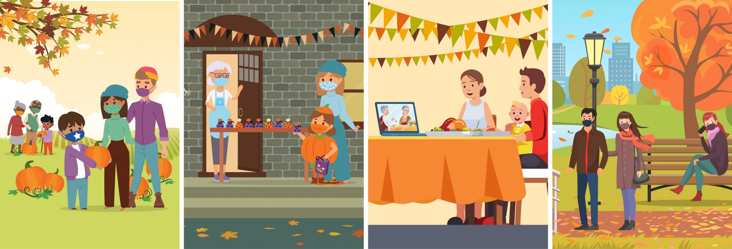 illustration of families celebrating fall festivities