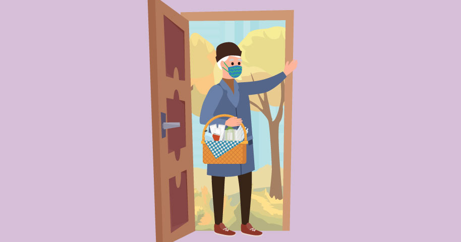 illustration of person with mask and basket of disposable products walking in doorway
