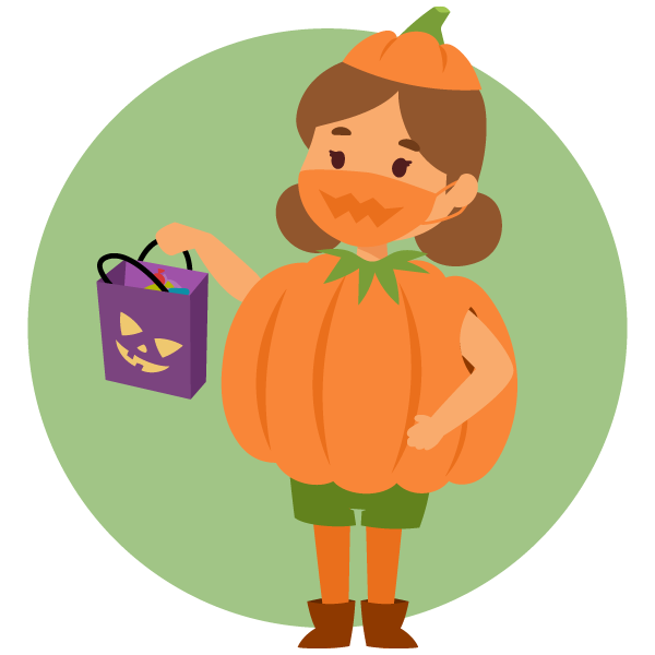 illustration of a child wearing a pumpkin costume holding a Halloween treat bag wearing face masks appropriately and
