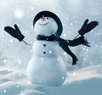 snowman with gloves, scarf and hat