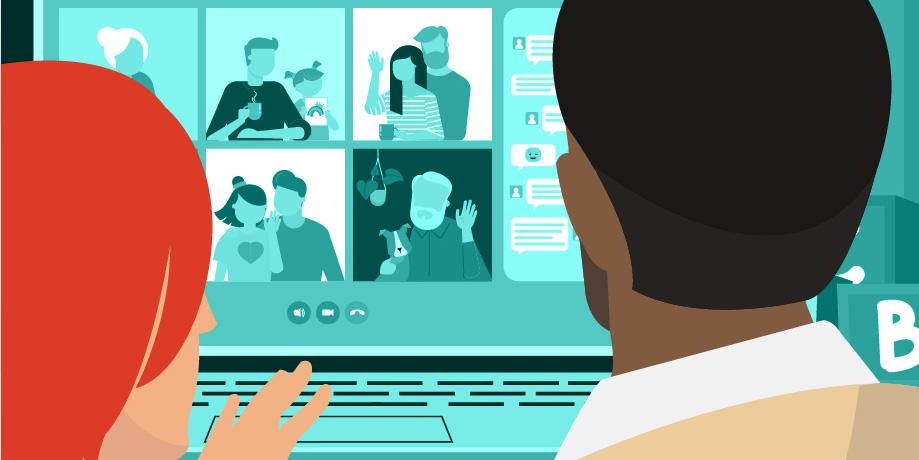 Hình ảnh một gia đình quây quần trong nhà, tay cầm quà và để một chiếc máy tính xách tay trước mặt. Họ đang nói chuyện với những người khác được hiển thị trên màn hình máy tính xách tay.
