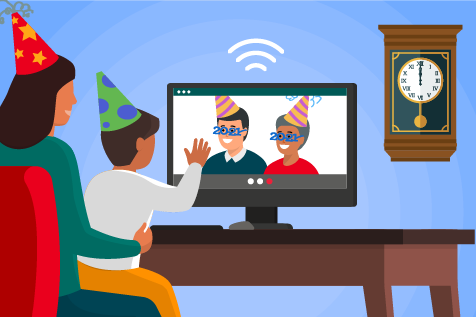 A family is shown talking to loved ones by using their computer and virtual meeting technology.