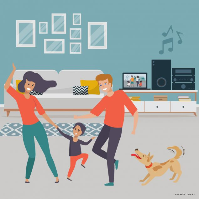 a family dancing at home, with a computer screen showing another family dancing