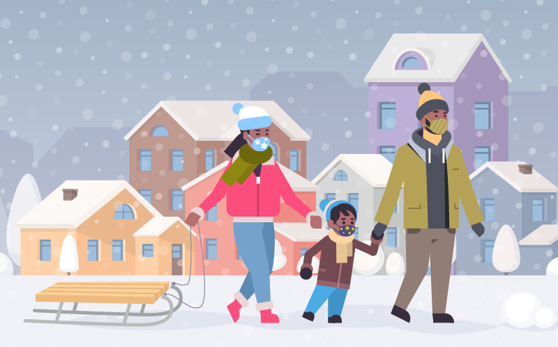 A family is shown sledding in the snow in a neighborhood. Each family member is wearing a mask.