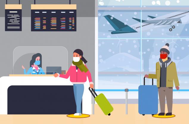 Hình ảnh minh họa mọi người xếp hàng đi đến quầy soát vé tại sân bay. Những người trong hình minh họa đang giữ khoảng cách tiếp xúc với nhau.