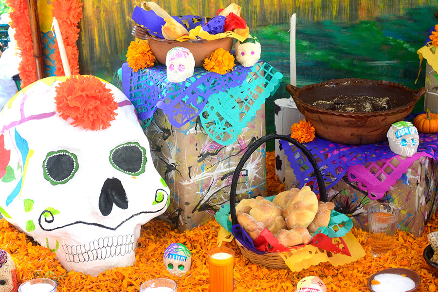 Traditional mexican Day of the dead altar.