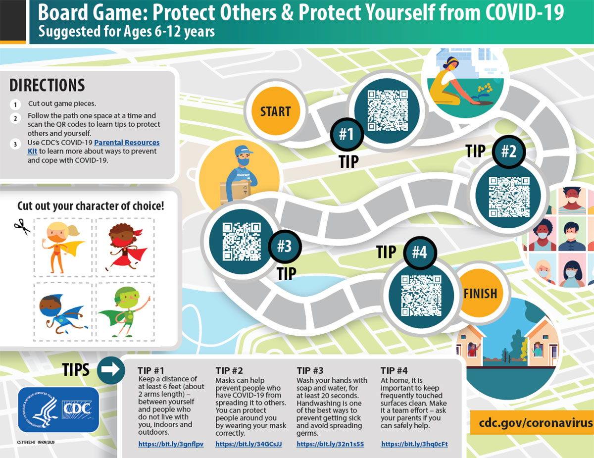 Board Game: Protect Others & Protect Yourself from COVID-19. Suggested for Ages 6-12 years.