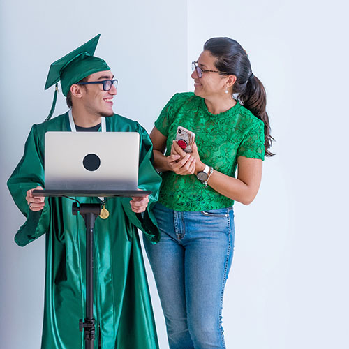 Student and mother in virtual graduation class of 2020