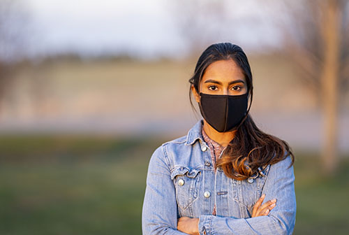 Woman Wearing Protective Mask Outside
