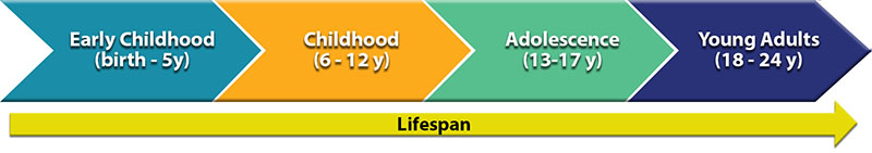 Lifespan timeline from includes early childhood (birth-5y) Childhood (6-12y) Adolescence (13-17y) Young Adults (18-24y)