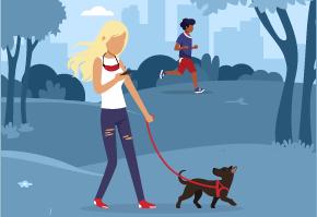 공원에서 반려견을 산책시키는 소녀. 공원에서 달리고 있는 소년