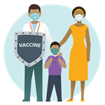 Graphic of a father holding a Vaccine shield with mother and son