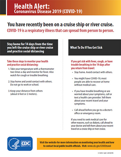 Health Alert: You have recently been on a cruise ship or river cruise.
