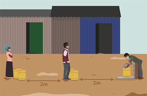 Illustration of people waiting in line to fill canisters with water, separated by 2 meters per person