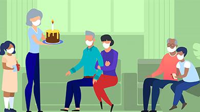 ilustración de una familia reunida para una fiesta de cumpleaños, todos con mascarilla