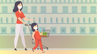 hình minh họa người mẹ cùng con đeo khẩu trang khi đi mua thực phẩm