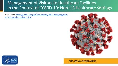 Image of first slide for presentation about Management of Visitors to Healthcare Facilities in the Context of COVID-19: Non-US Healthcare Settings