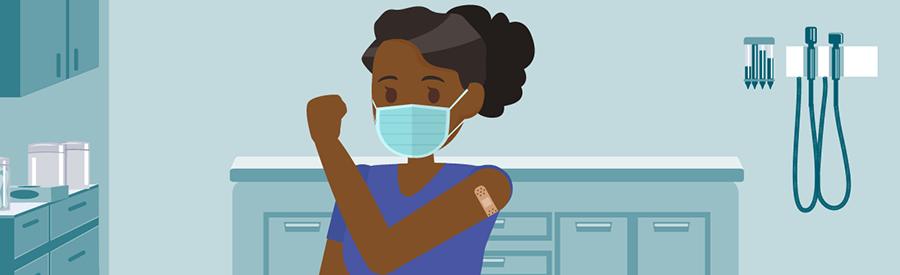 ilustración de una mujer con un apósito después de vacunarse