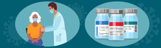 一个老人在医疗专业人员处接种加强针剂和三瓶COVID-19疫苗的插图。