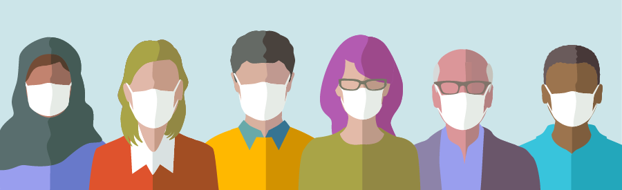 Illustration of a variety of people wearing masks