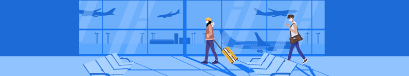 Illustration of people walking in an airport