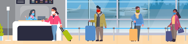 Illustration of masked people waiting in an airport terminal