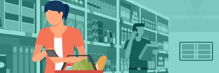 Ilustración de una mujer en una tienda de comestibles