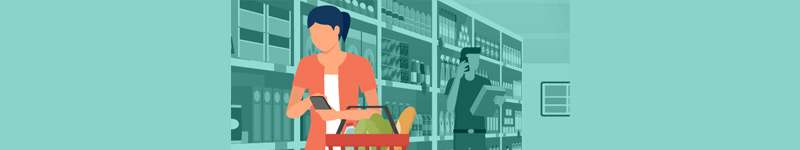 Illustration of a woman at a grocery store