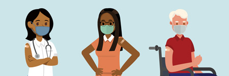 Illustration of a doctor, a woman with glasses, and a man in a wheelchair wearing masks and wearing bandaids