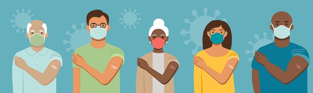 Ilustración de varias personas con mascarillas mostrando el brazo en el que recibieron la vacuna.