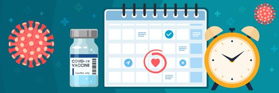 Imagen de un vial de vacuna, un calendario y un reloj despertador.