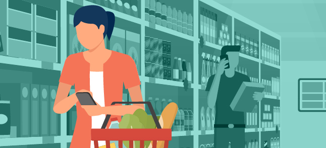 una mujer que recibió la vacuna completa en una tienda comprando alimentos sin mascarillas