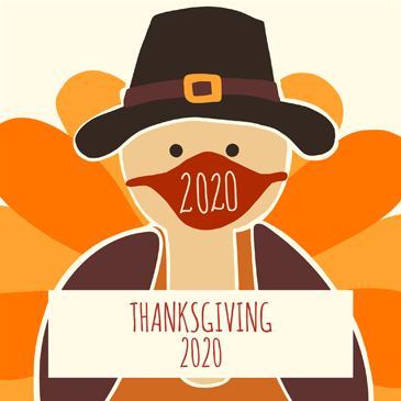 Illustration of a turkey with text that says Thanksgiving 2020