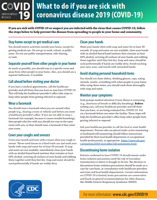 Factsheet: What to do if you are sick with Coronavirus Disease 2019 (COVID-19)