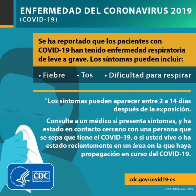 Síntomas de la enfermedad del coronavirus 2019. Los síntomas pueden incluir: fiebre, tos, dificultad para respirar