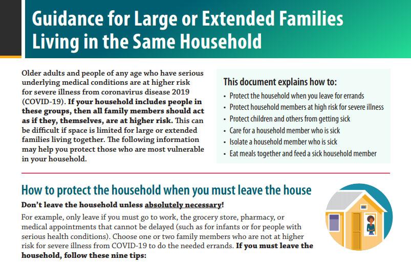 Guía para familias numerosas o extendidas que viven en la misma casa