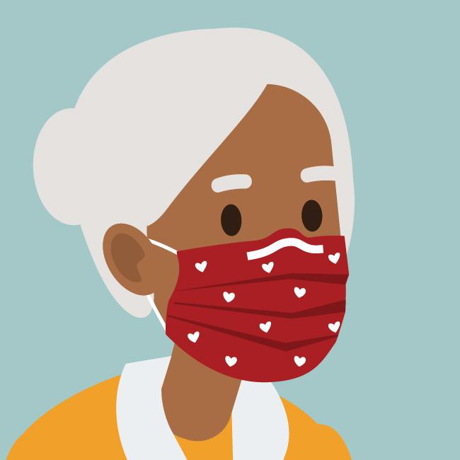 戴着口罩的非洲裔美国老妇的插图