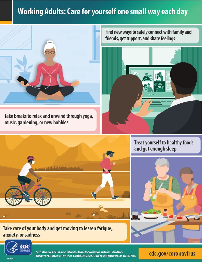 Infographic with tips for working adults to encourage taking care of yourself one small way each day.