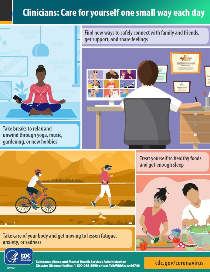 Infographic with tips for clinicians to encourage taking care of yourself one small way each day.