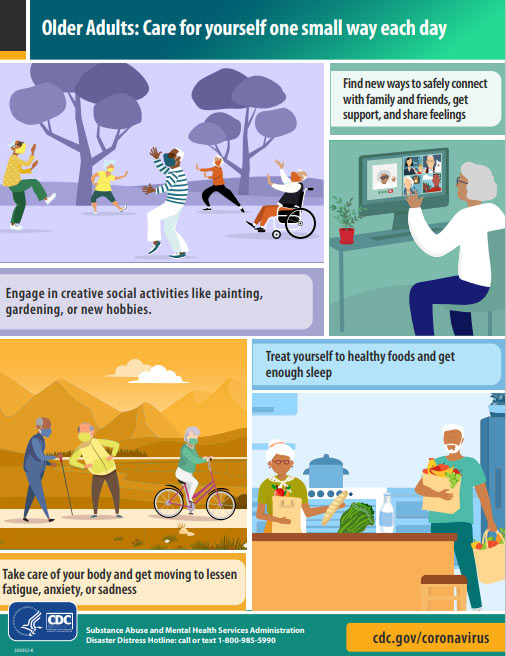 Infographic with tips for older adults to encourage taking care of yourself one small way each day.