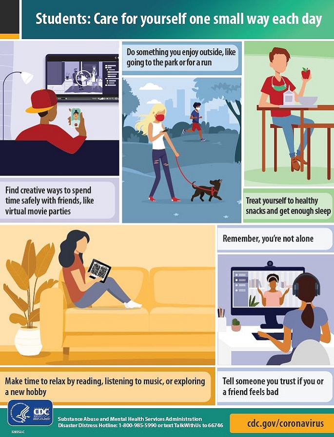 Infographic with tips for students to encourage taking care of yourself one small way each day.