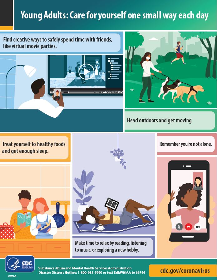 Infographic with tips for young adults to encourage taking care of yourself one small way each day.