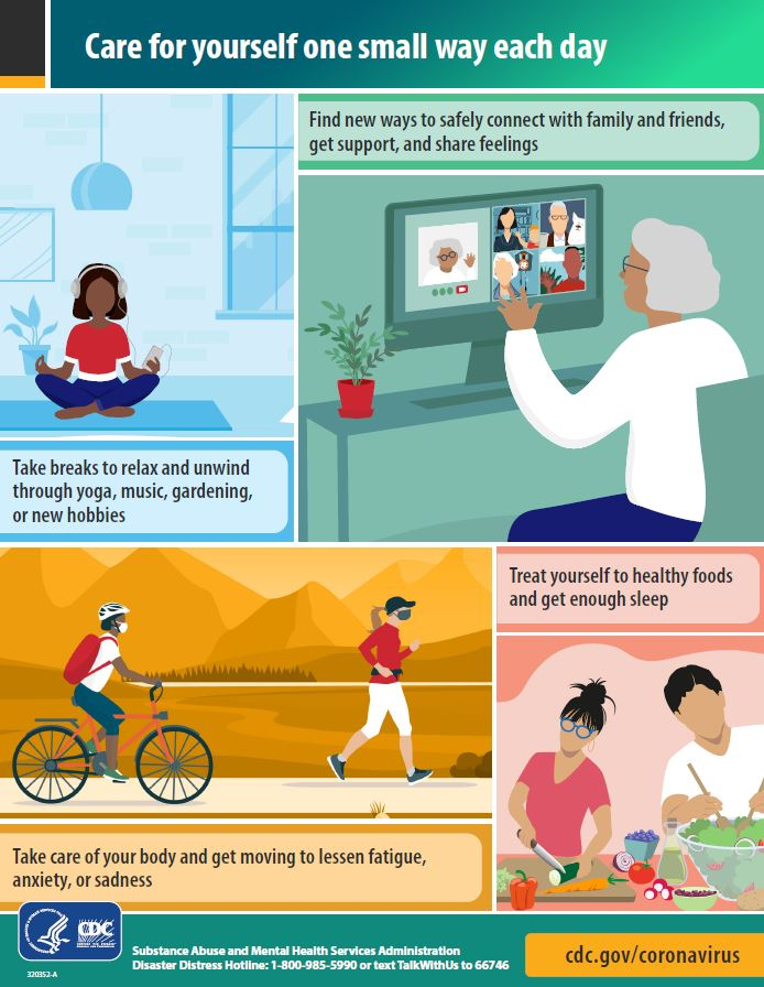 Infographic with tips for the general public to encourage taking care of yourself one small way each day.