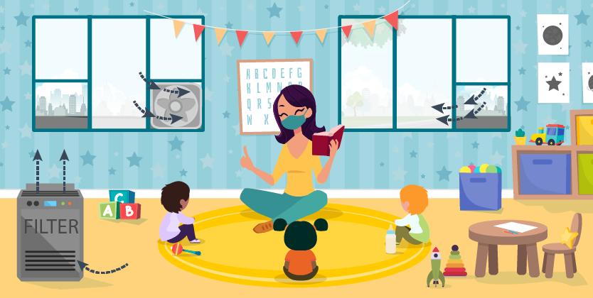 공기청정기, 창문, 환풍기가 있는 교실 그림