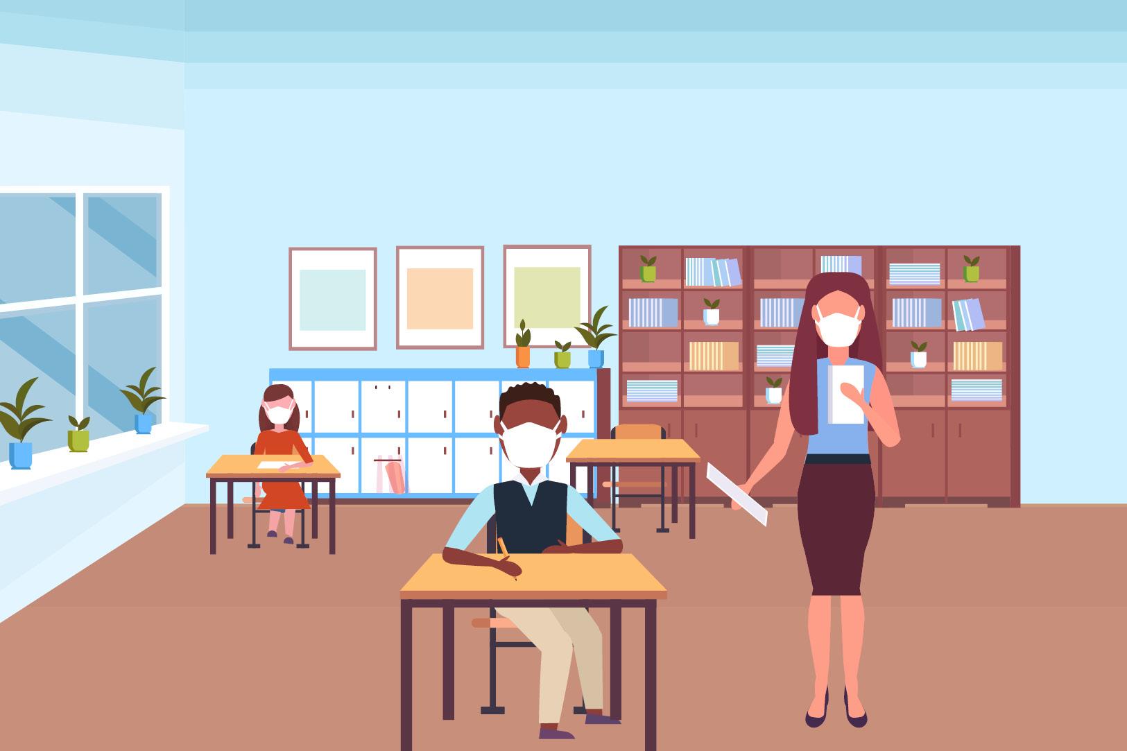 교실에 있는 학생과 교사 그림