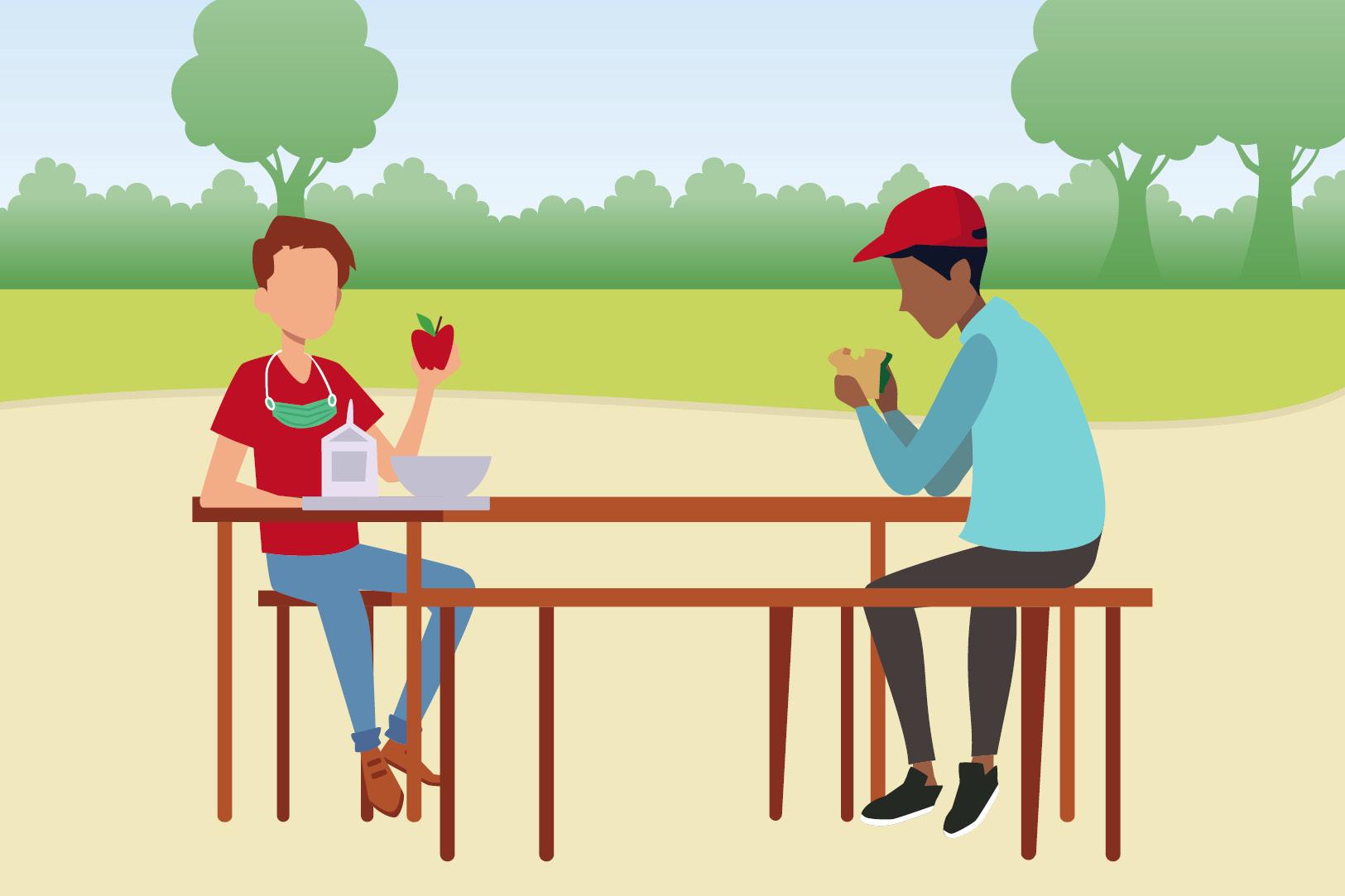 실외 피크닉 테이블에서 식사하는 두 사람 그림
