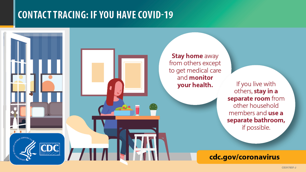 Image of a person sitting in a separate room of the house self isolating. cdc.gov/coronavirus.