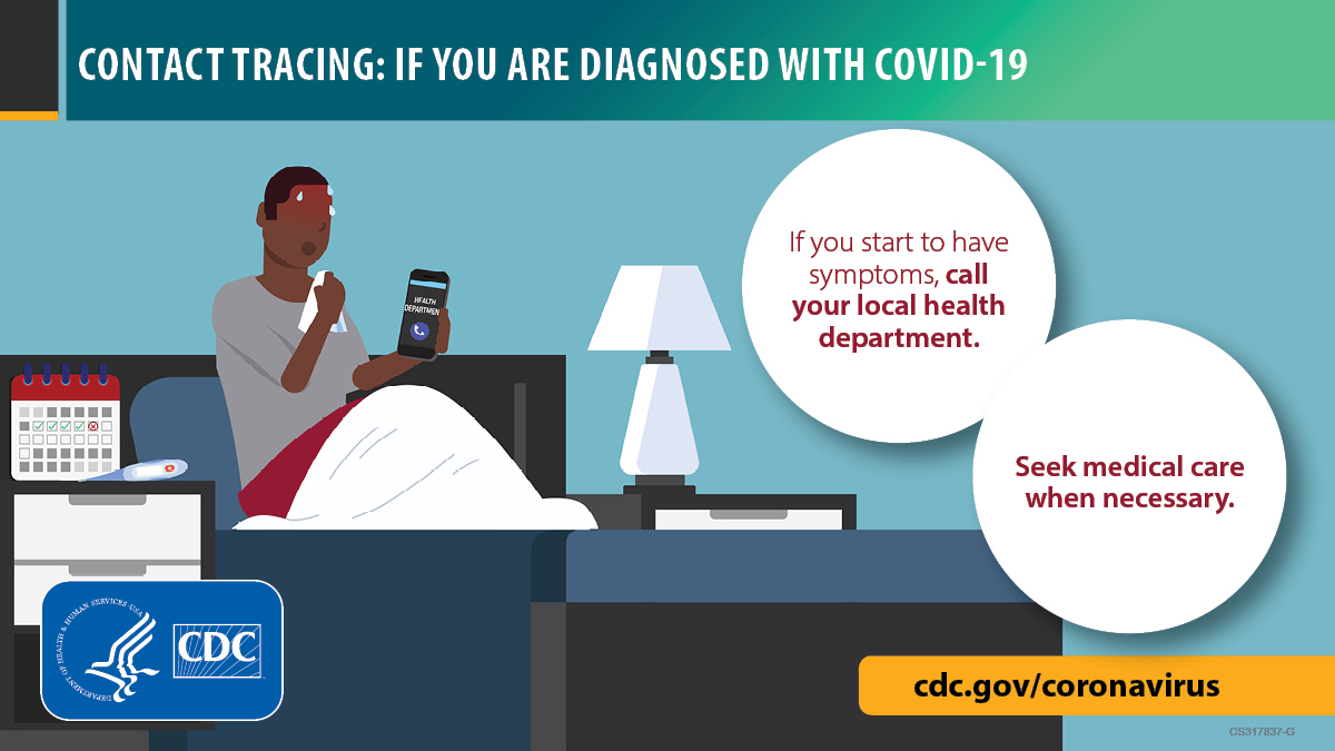 Image of a person who is sick in bed with a calendar in the background. cdc.gov/coronavirus.