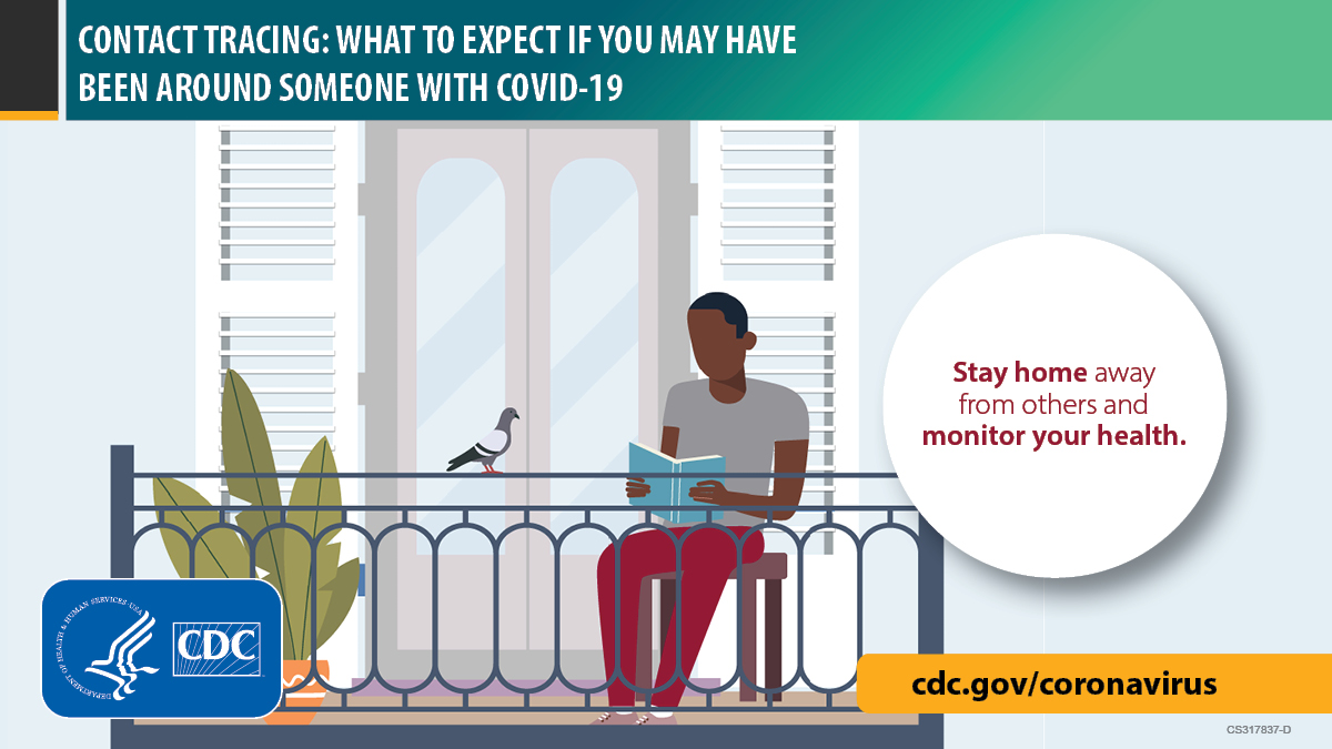 Image of a person sitting on a balcony. cdc.gov/coronavirus.